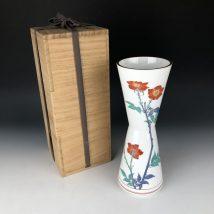 十三代目柿右衛門 濁手薔薇文 花瓶
