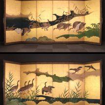 一双 金地水辺鴨図屏風 17~18世紀