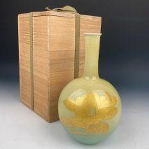 吉田美統作 釉裏金彩椿文花瓶