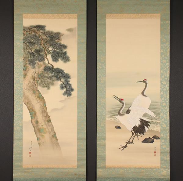 海辺双鶴・老松図