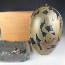 真作保証 Jordi Serra Moragas 作 一輪挿し 女性文様の希少作 スペインの陶芸家 ジョルディ セラ モラガス