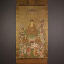 <板谷広当>大幅 仏画 釈迦三尊十六善神像